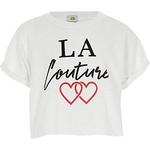 T-shirt court « La Couture » blanc pour fille