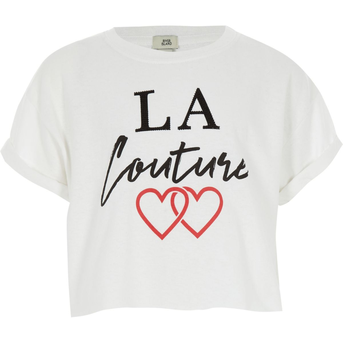 Girls white 'La Couture' cropped T-shirt