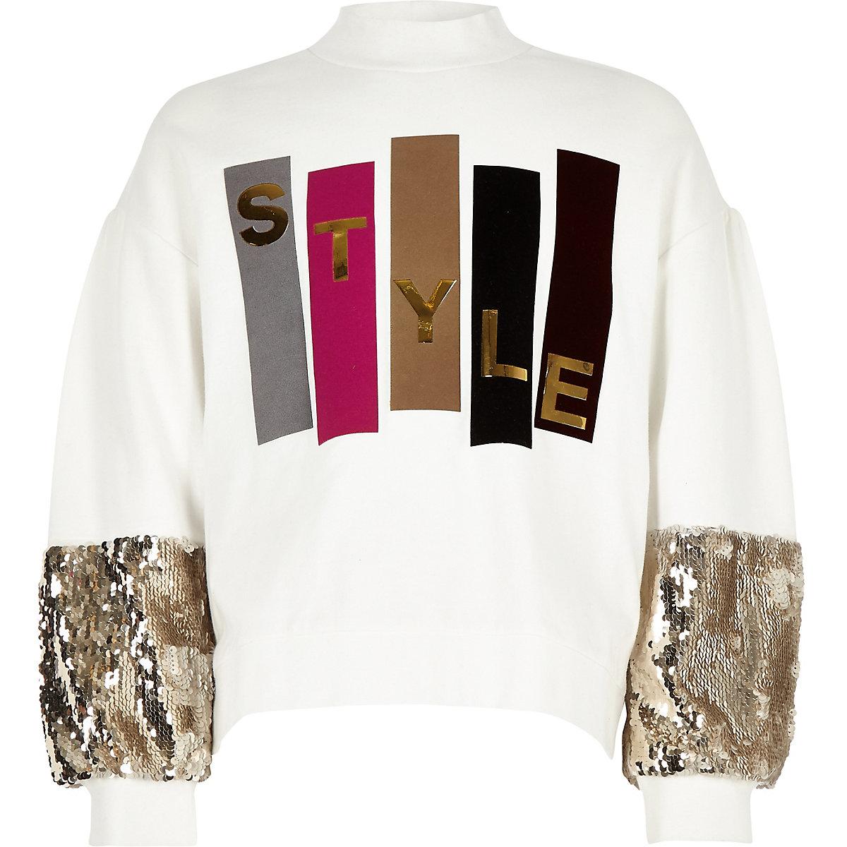 Girls cream 'Style' sequin sleeve sweatshirt