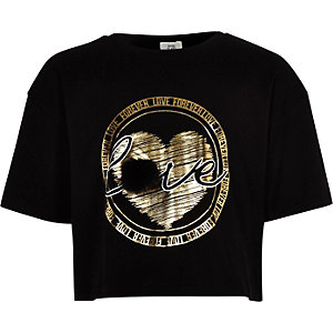 Girls black faux fur gold foil print T-shirt