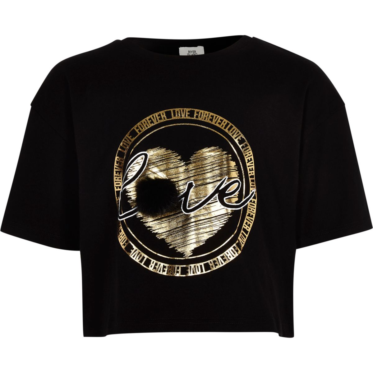 Girls black faux fur gold foil print T-shirt