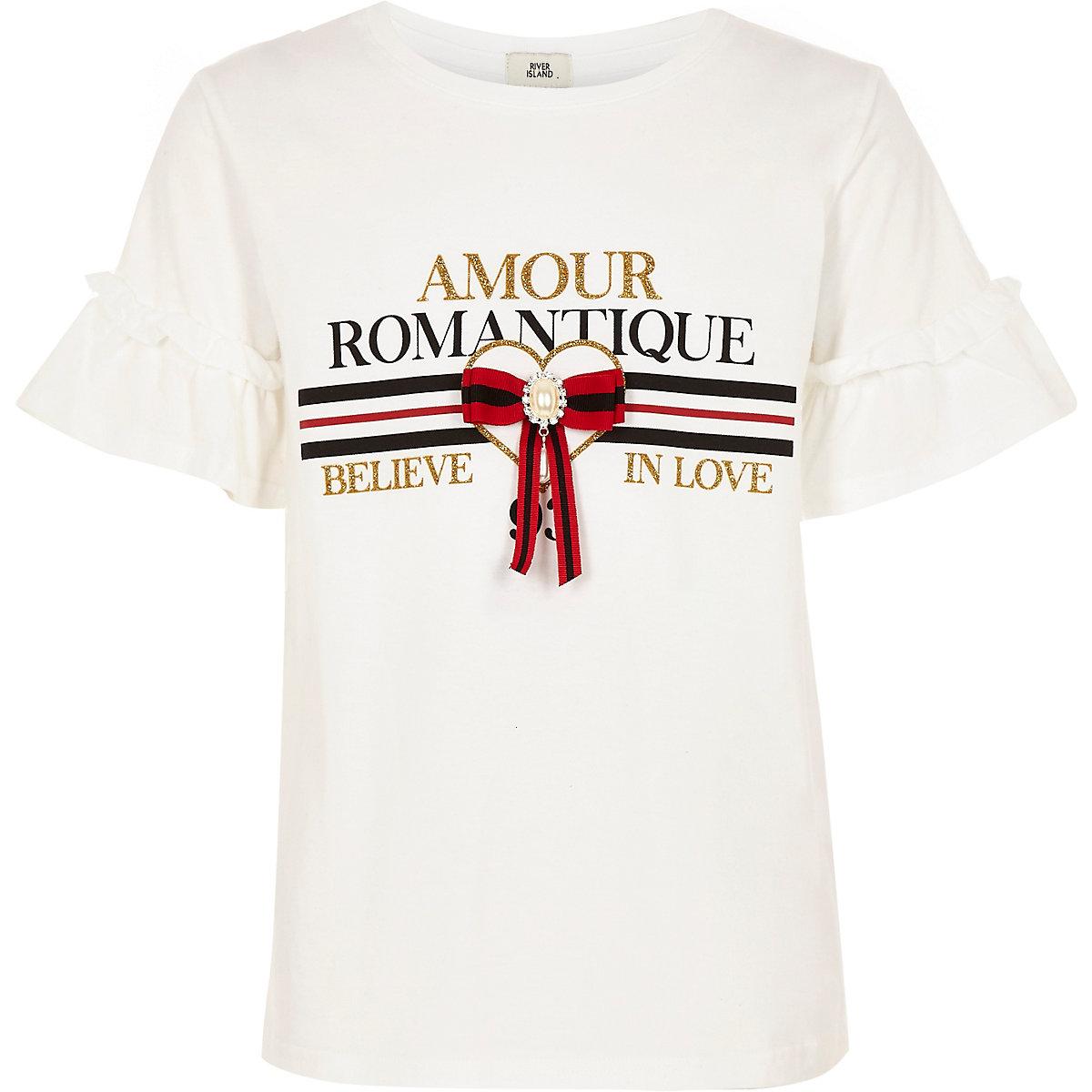Girls white 'Amour' frill sleeve T-shirt