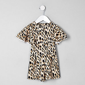 Mini girls beige leopard print frill playsuit