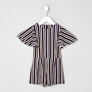 Mini girls black stripe frill sleeve playsuit