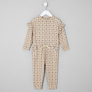 Mini girls cream monogram cosy jumpsuit