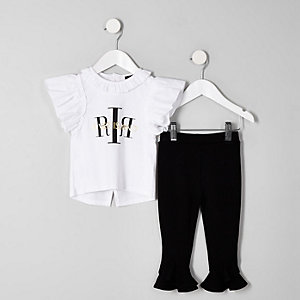 Ensemble avec t-shirt à volants et logo RI blanc mini fille
