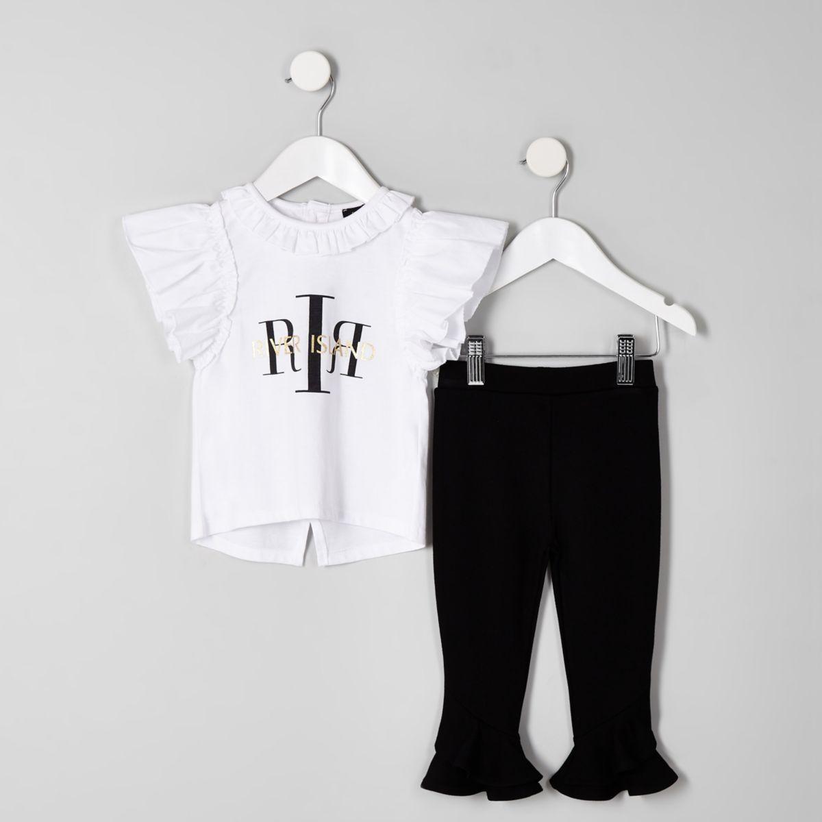 Mini girls white RI frill T-shirt outfit
