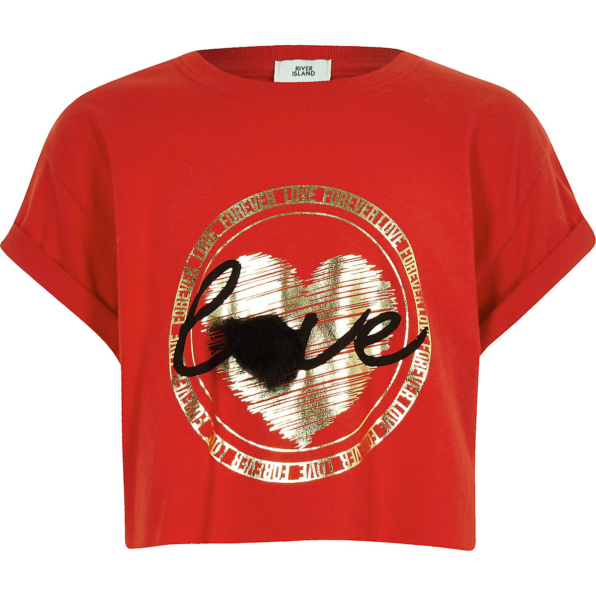 Girls red 'Love forever' pom pom T-shirt
