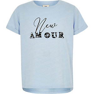 Girls blue 'New Amour' pearl T-shirt
