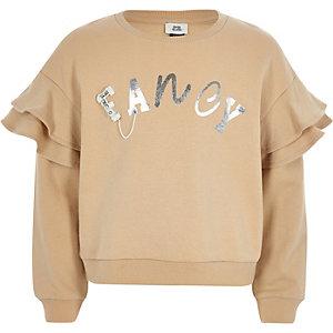 Beige sweatshirt met ruches en 'Fancy'-print voor meisjes