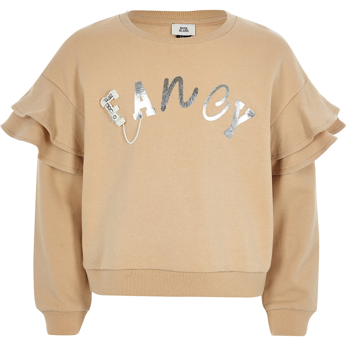 Girls beige 'fancy' ruffle sleeve sweatshirt
