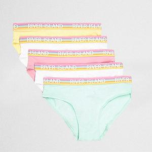Girls pink pastel briefs multipack