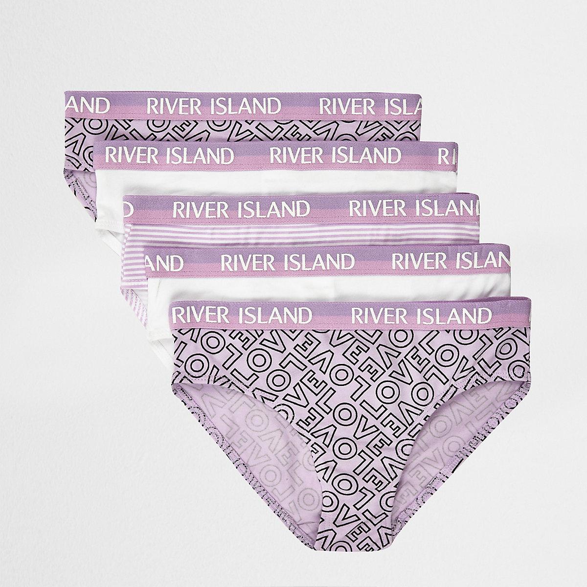 Girls purple 'Love' briefs multipack