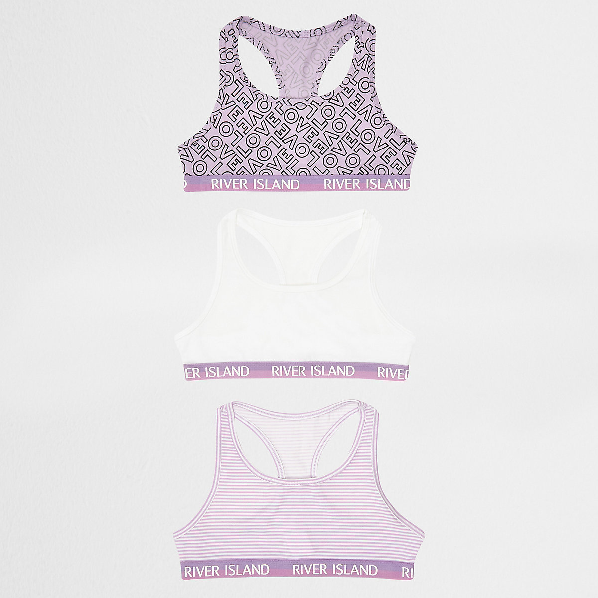 Girls purple 'Love' racer crop top multipack