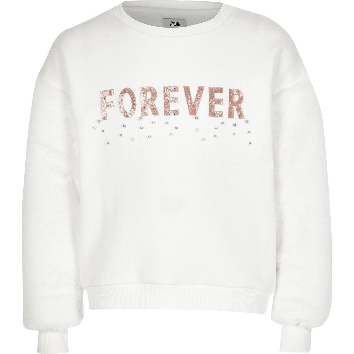 Girls cream faux fur sleeve sweatshirt