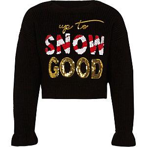 Girls black 'Snow good' Christmas jumper