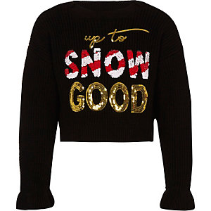 Girls black 'Snow good' Christmas sweater