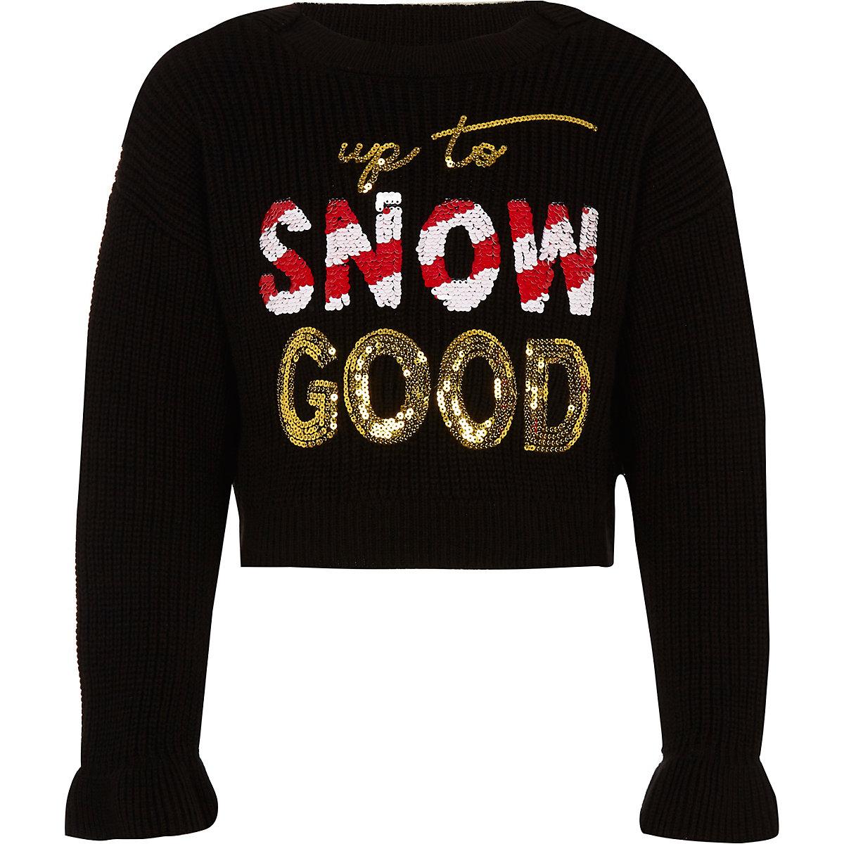 Girls black 'Snow good' Christmas sweater