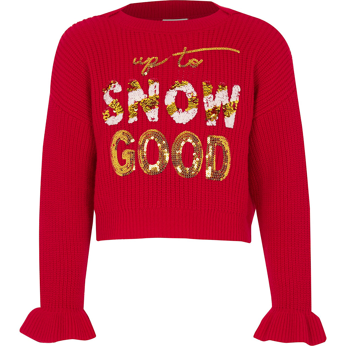 Girls red 'Snow good' Christmas jumper