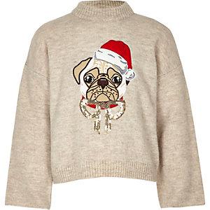 Girls cream pug Christmas jumper