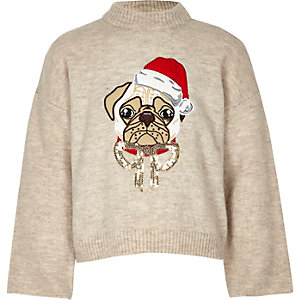 Girls cream pug Christmas sweater