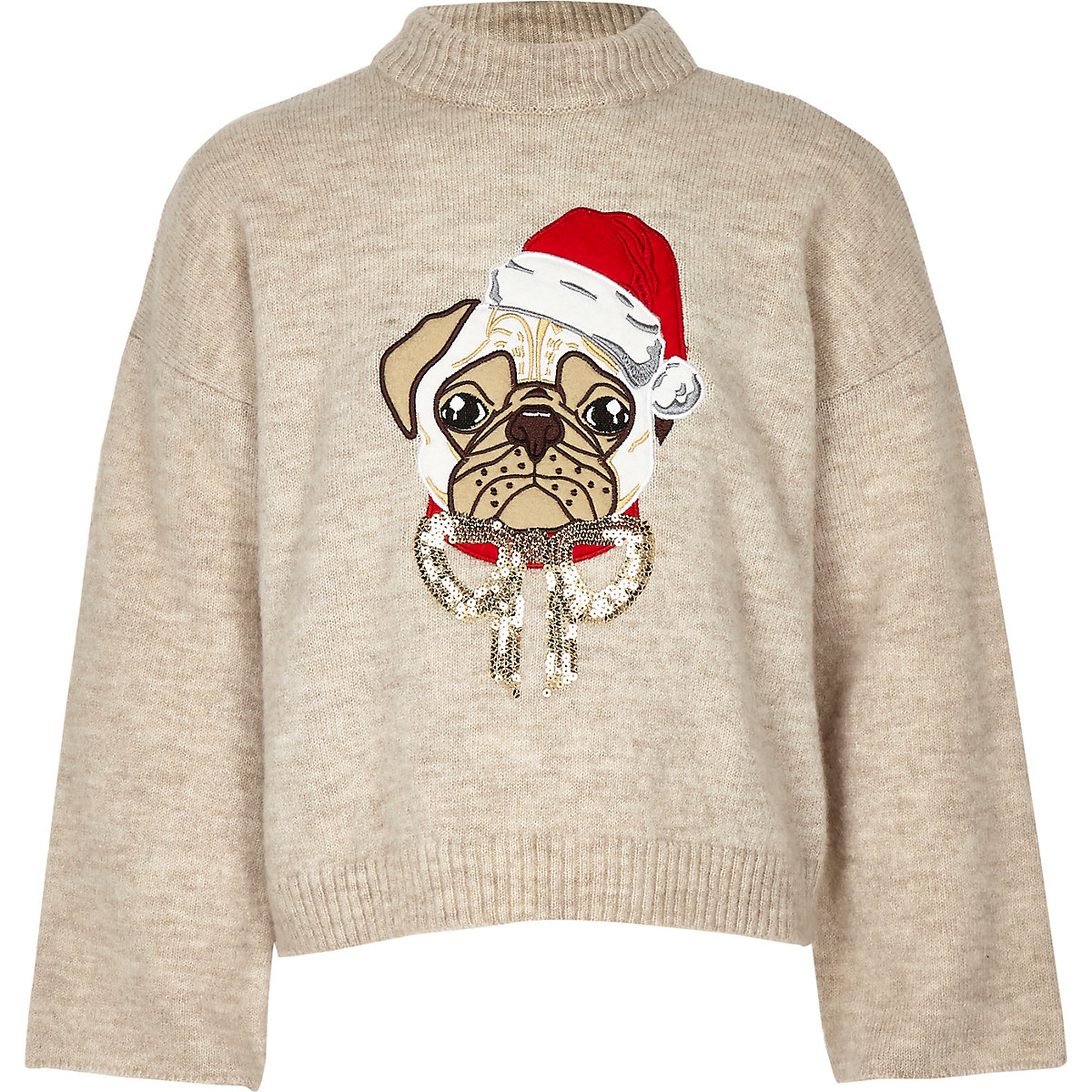 Girls cream pug Christmas jumper