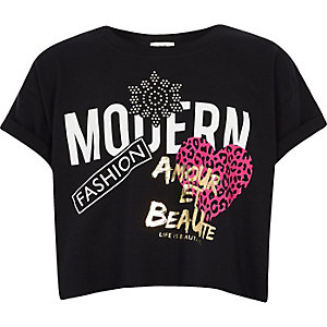 Girls black 'Modern' crop top