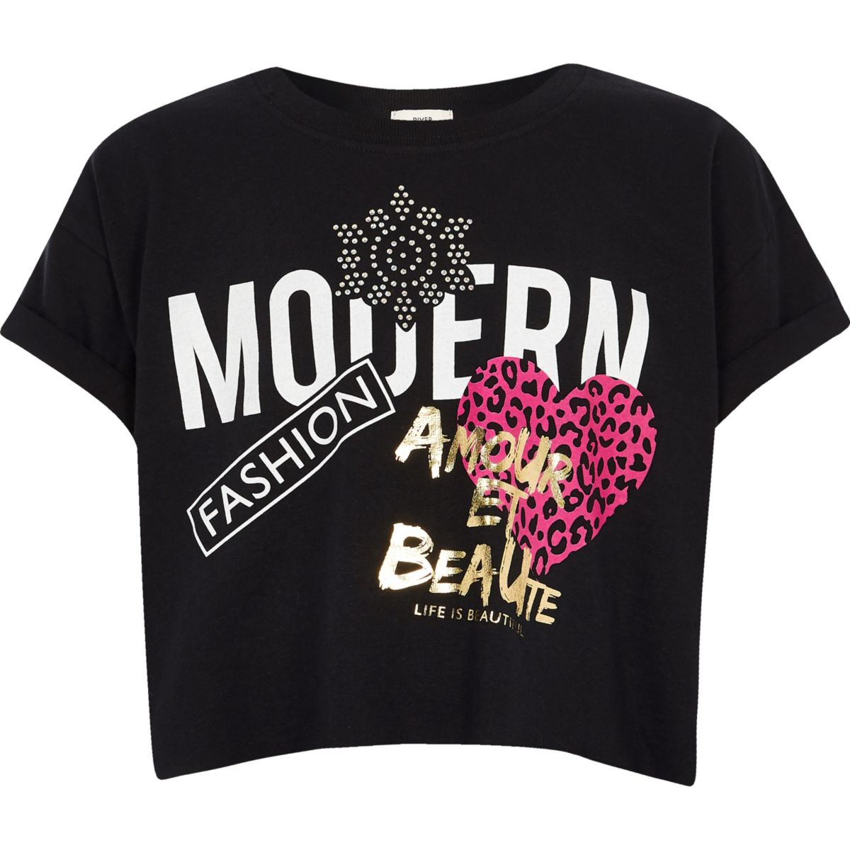 Girls black 'Modern' crop top