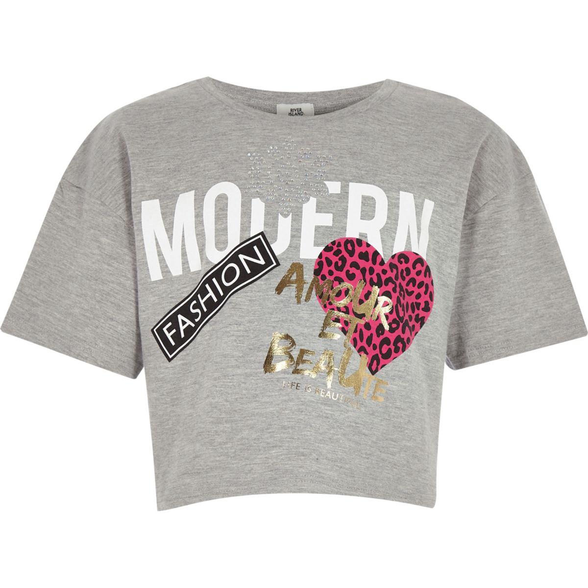 Girls grey 'Modern' print cropped T-shirt