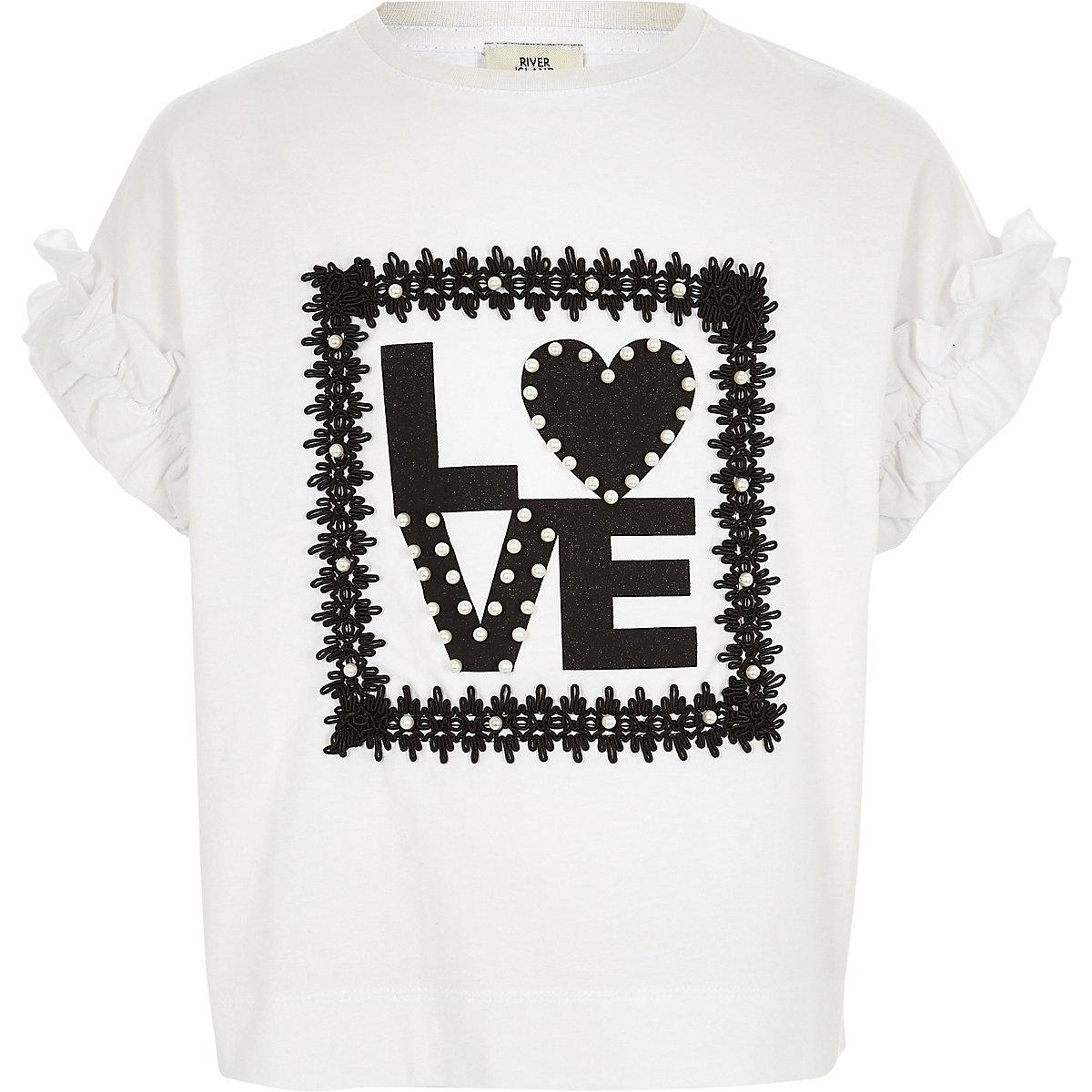Girls white 'love' pearl frill sleeve T-shirt