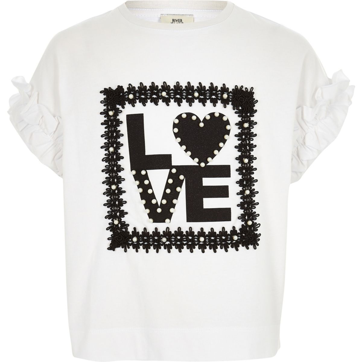 Girls white 'love' pearl frill sleeve T-shirt