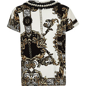 Girls white baroque pearl neck trim T-shirt
