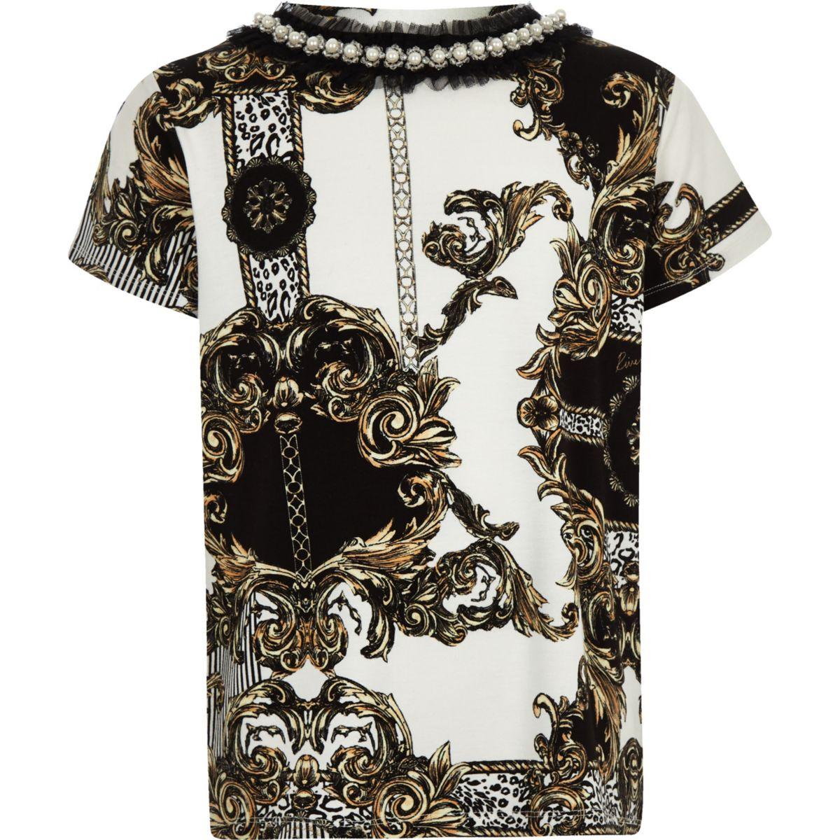 Girls white baroque pearl neck trim T-shirt
