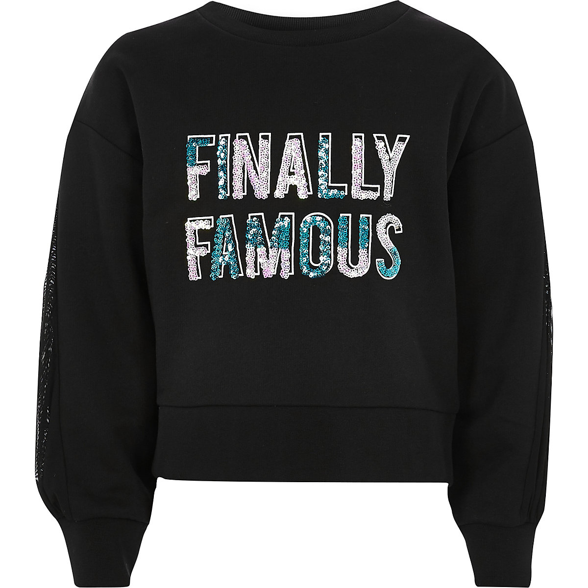 Girls black 'finally famous' print sweatshirt