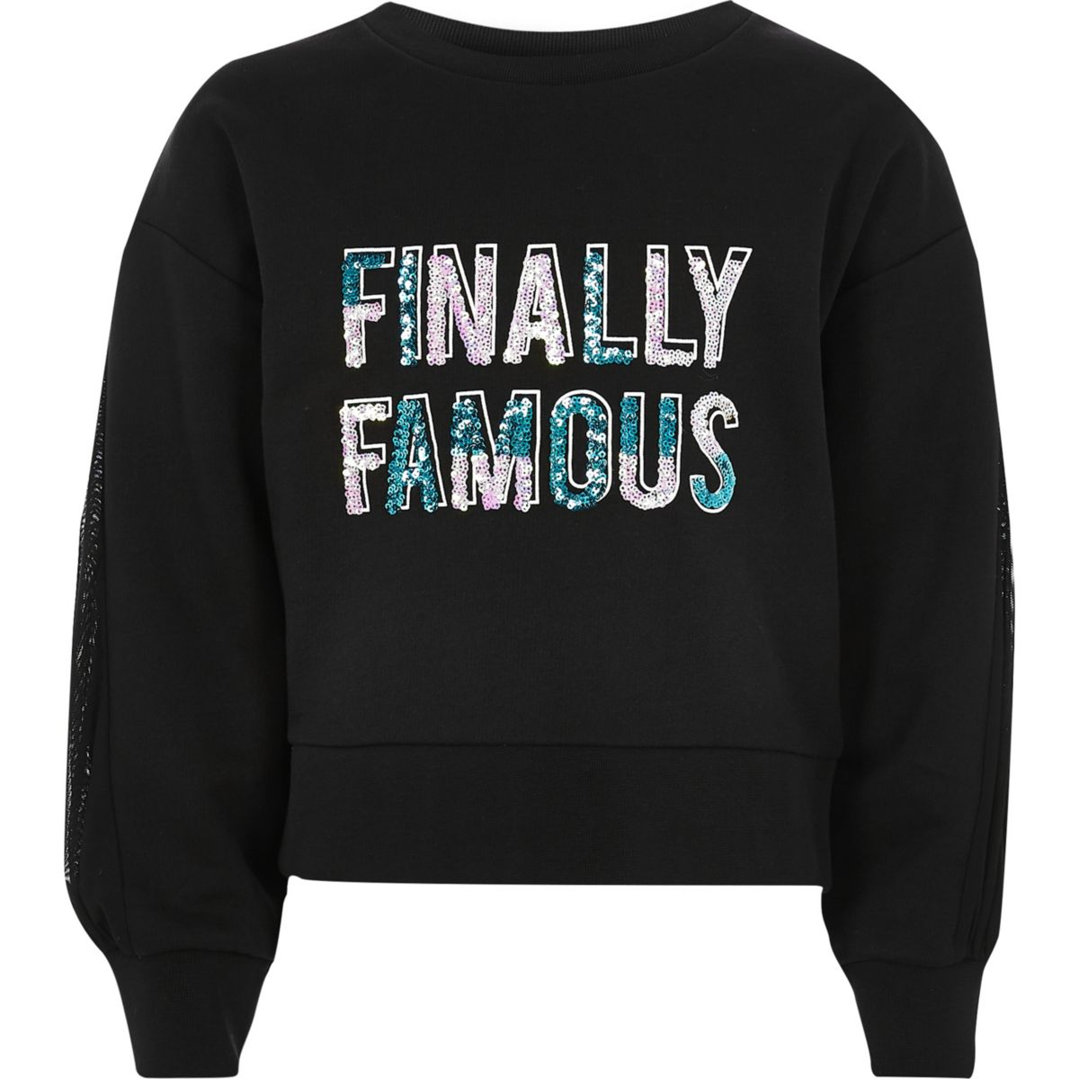 Girls black 'finally famous' print sweatshirt