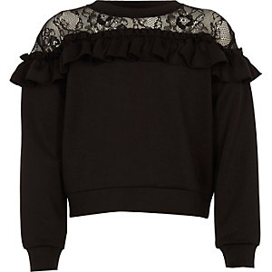 Girls black lace detail long sleeve top