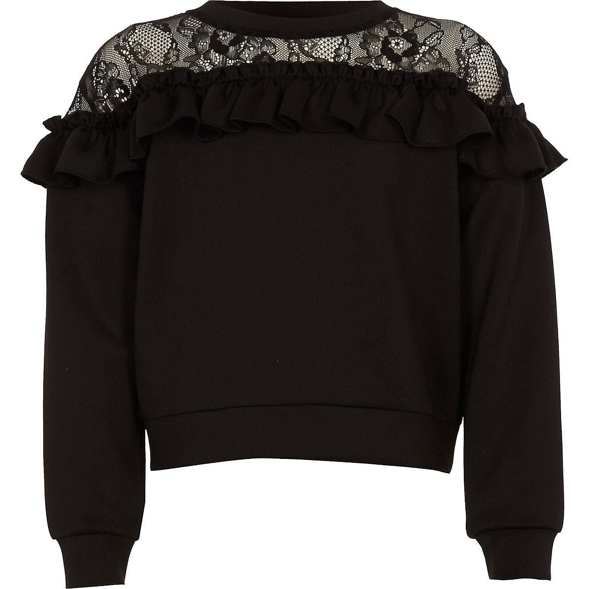 Girls black lace detail long sleeve top