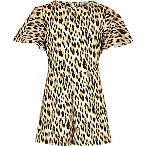 Girls brown leopard print tape side romper