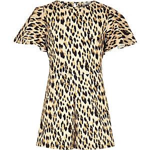 Combi-short imprimé léopard marron à bande latérale pour fille