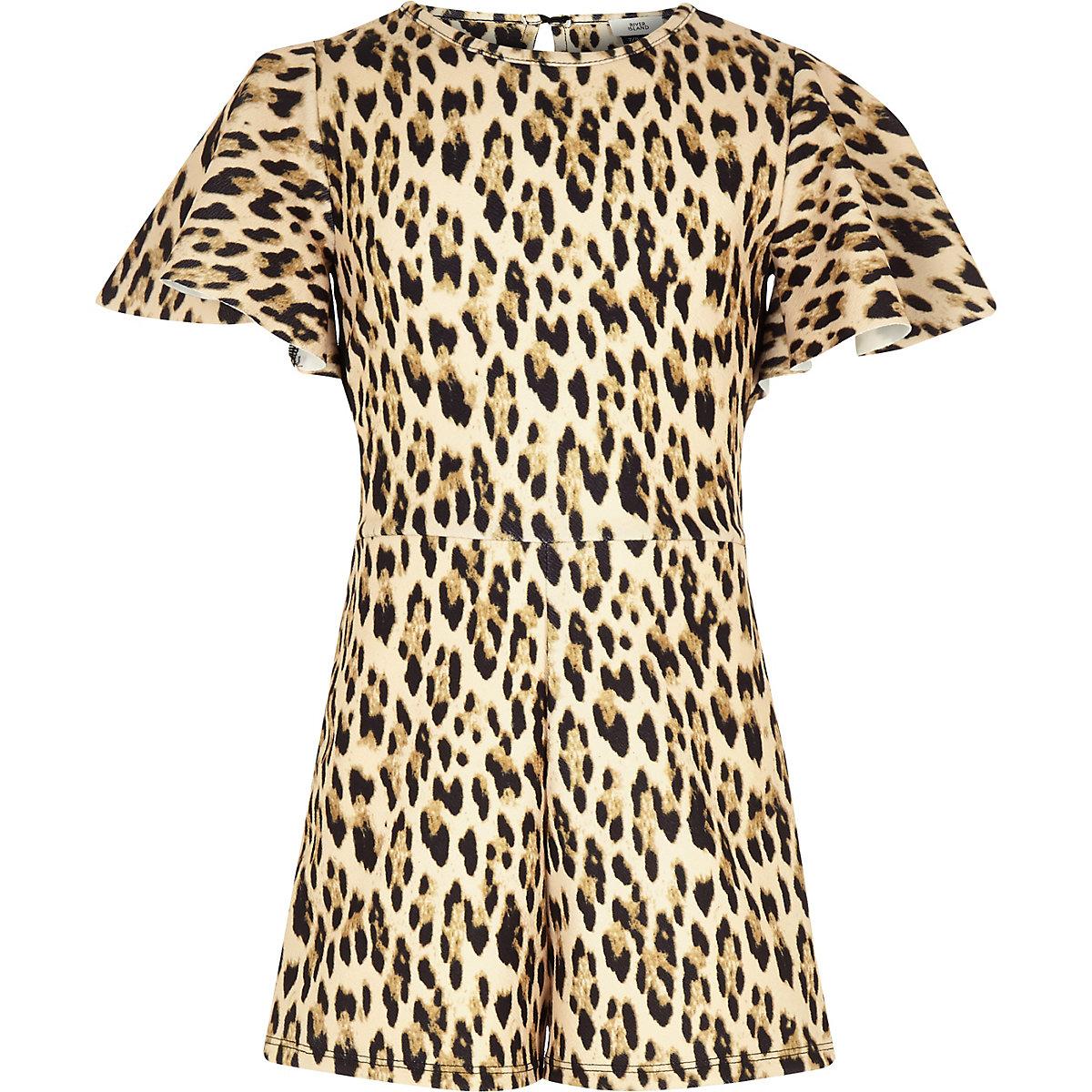 Girls brown leopard print tape side romper