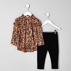 Mini - Set met bruine blouse met luipaardprint en leggings voor meisjes