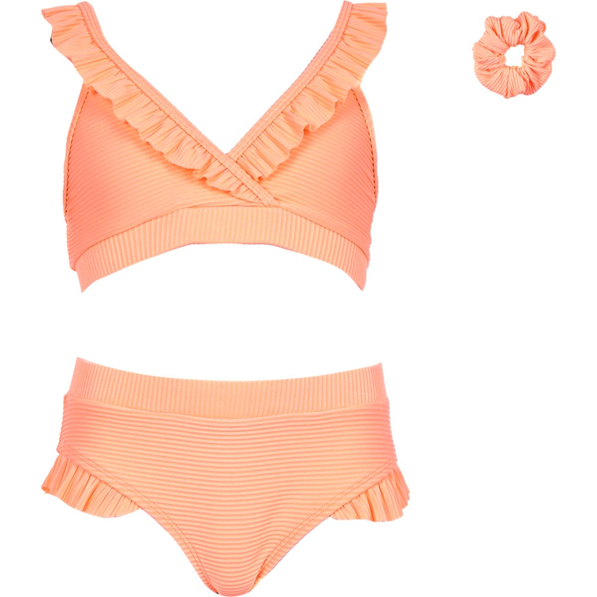 Girls coral rib triangle frill tankini
