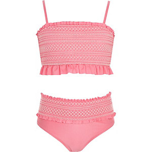 Girls pink shirred bandeau bikini set