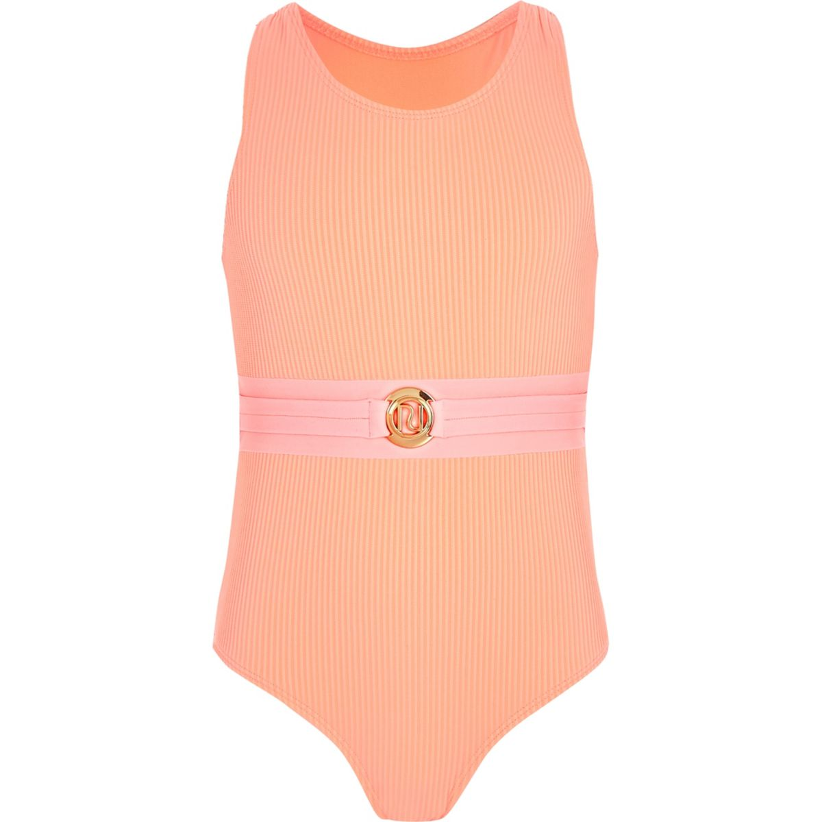 Girls coral RI belted swimsuit