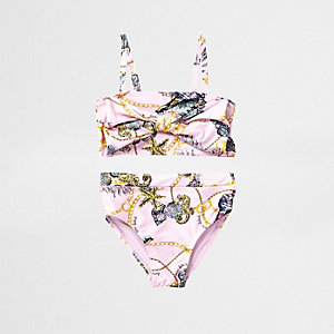 Ensemble tankini à imprimé coquillage rose noué devant mini fille