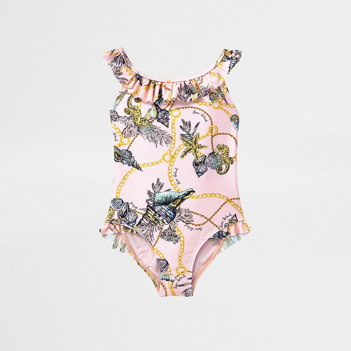 Mini girls pink shell print frill swimsuit