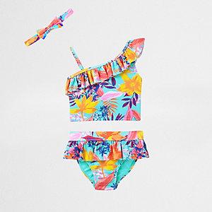 Mini girls blue tropical print tankini