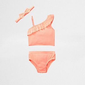 Mini girls coral tankini three piece set