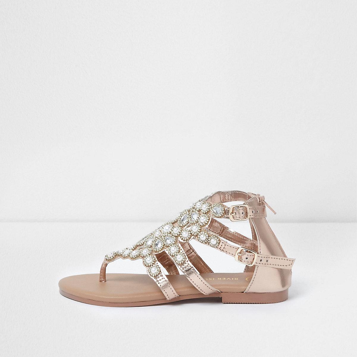 Sandales plates or rose ornées de perles pour fille