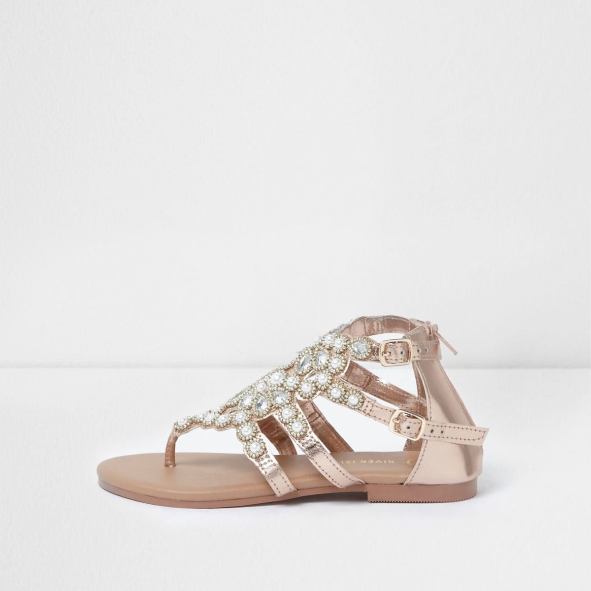 Girls rose gold faux pearl flat sandals